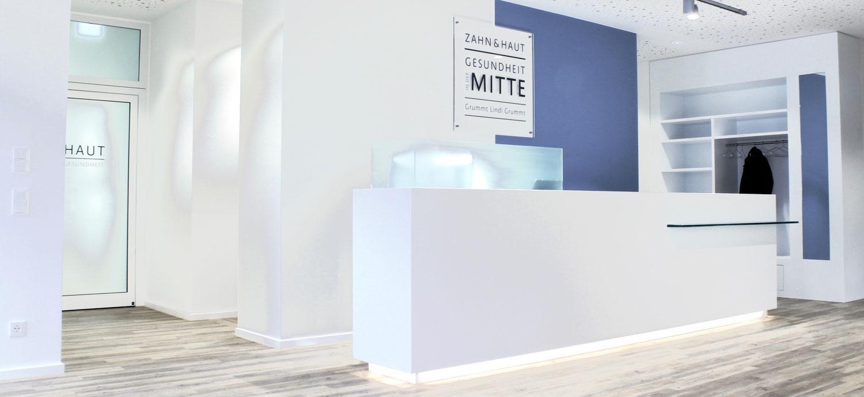Empfangsbereich der Zahn- und Hautarztpraxis Dres. Grummt & Lindl in Fürth